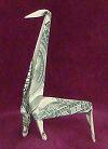 money origami gift giraffe