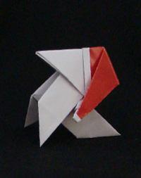 origami Pajarita with Christmas Cap