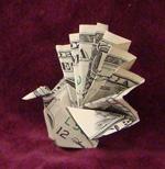 origami birds peacock dollar bill