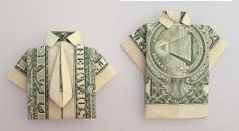 dollar bill origami shirt